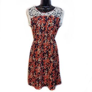 Papermoon Floral and Lace Sleeveless A-Line Dress